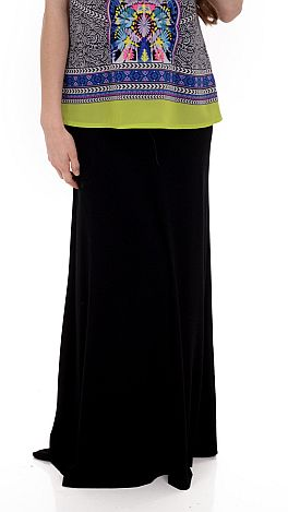 Solid Maxi Skirt, Black