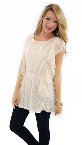 Sweet Lace Top, Ivory