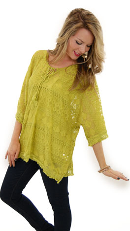 Chartreuse Lace Tunic