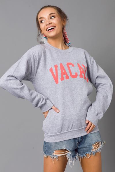 Vacay Sweatshirt, Heather Grey