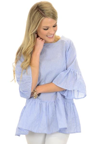 Wondrous Striped Tunic, Blue