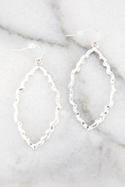 Moroccan Outline Earring, Silver