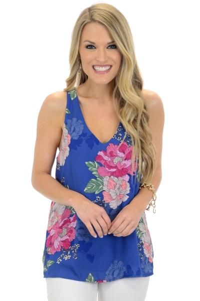 Gianna Floral Tank, Blue