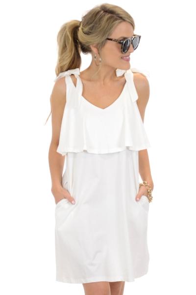 Bow Shoulder Dress, White