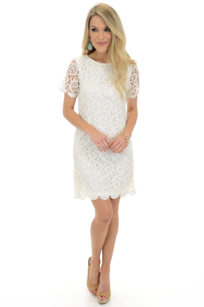 Brette Lace Dress, Cream