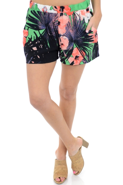 Pull on Shorts, Black Floral