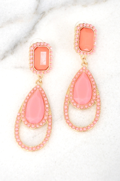Spring Drop Earring, Coral Multi