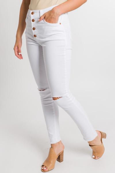 KARLIE Knee Slit Skinnies, White
