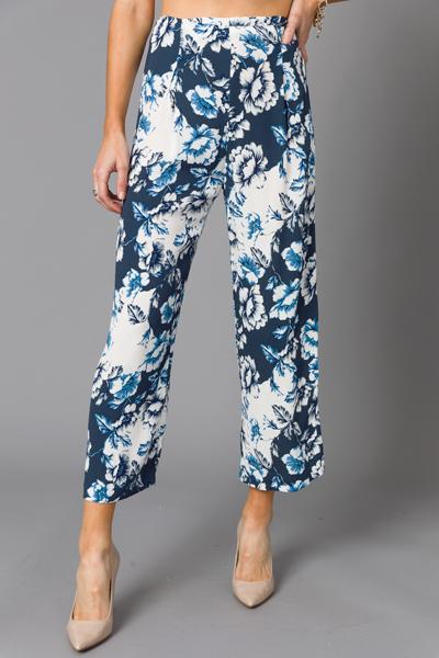 Summer Flower Pants, Navy