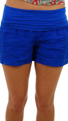 Roll Over Linen Shorts, Royal
