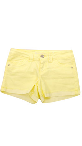 Cut Off Cuff Shorts, Yellow