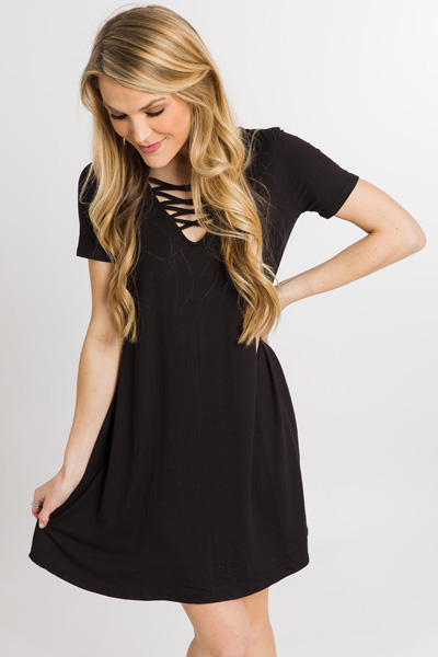 Laced Up Swing Dress, Black