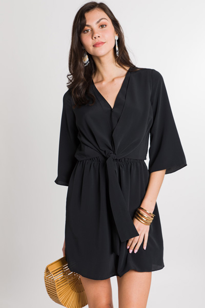 Claire Tie Front Dress, Black