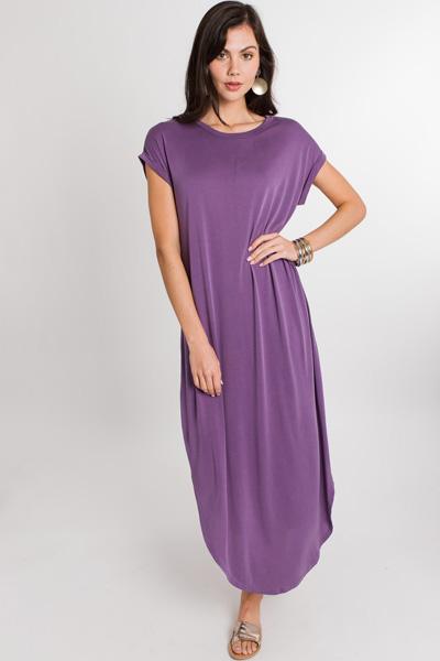 Rolled Sleeve Maxi, Dusty Purple