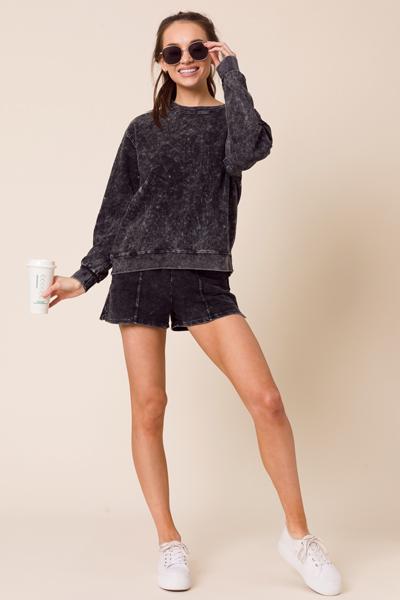 Mineral Wash Sweatshirt, Black