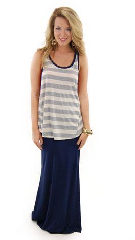 Solid Maxi Skirt, Navy
