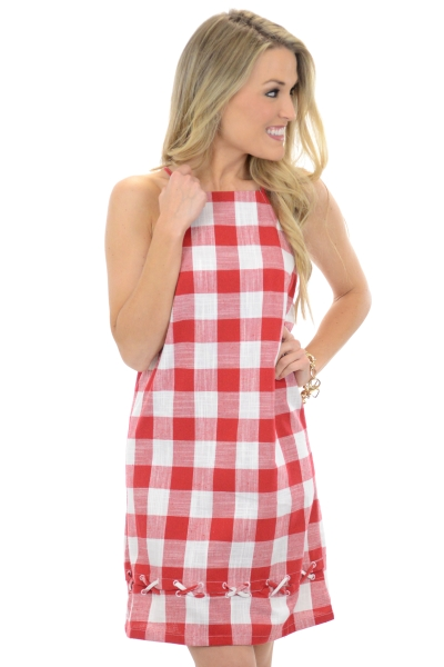 Picnic Lace Up Dress, Red