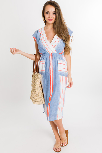 Neon Stripe Surplice Dress