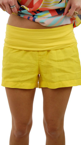 Roll Over Linen Shorts, Yellow