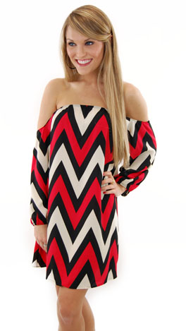 Cold Shoulder Chevron Dress