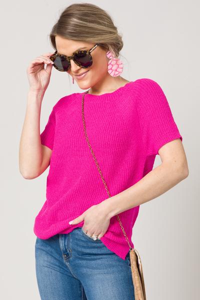 Rib SS Sweater, Hot Pink