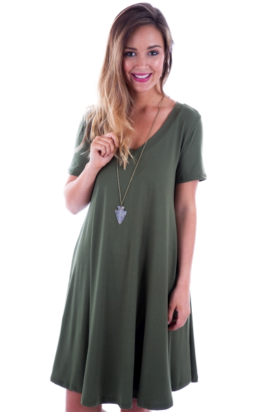 Josie V-Neck Dress, Olive