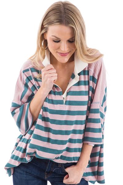 Blush Stripes Henley Top