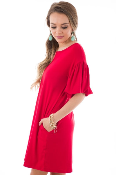 Puffed Sleeves Knit Dress, Red