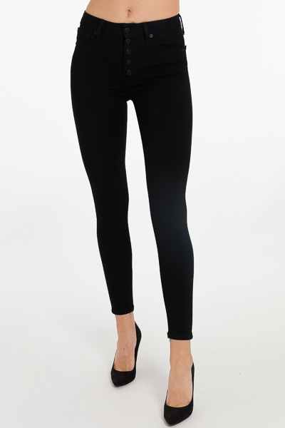 Button Front Skinny, Black