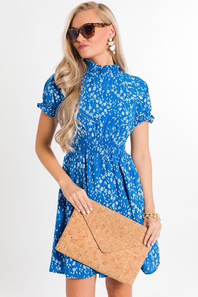 Floral Smocked Dress, Blue