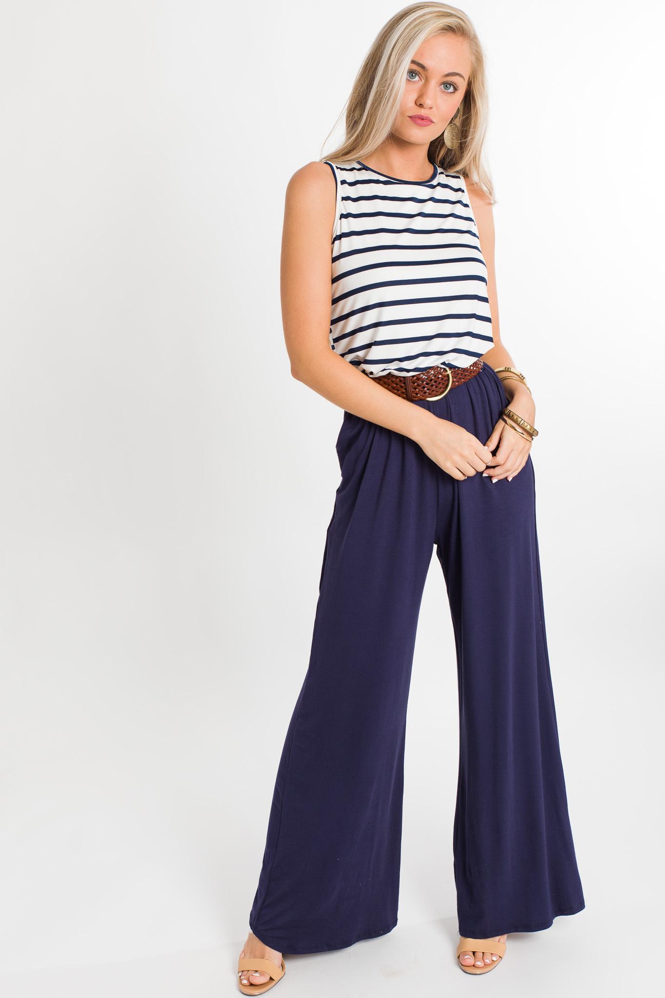 Stripe Pocket Jumpsuit, Navy