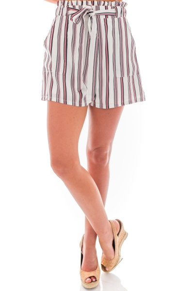 Casey Striped Shorts, Ivory