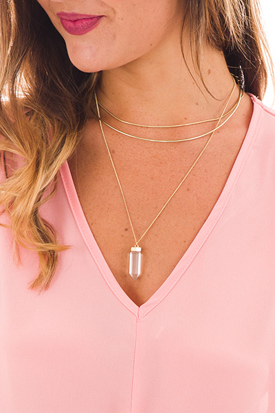 Crystal Pendant Layers Necklace, Clear