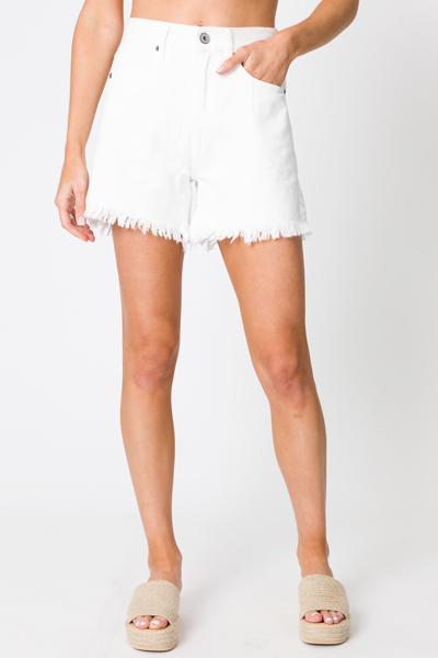 Raw Hem Denim Shorts, White