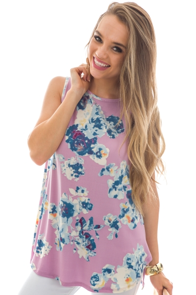 Ivy Floral Top, Purple