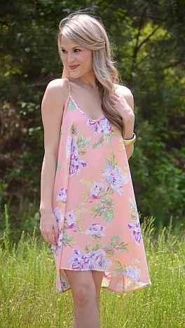 Botanical Blooms Dress, Peach