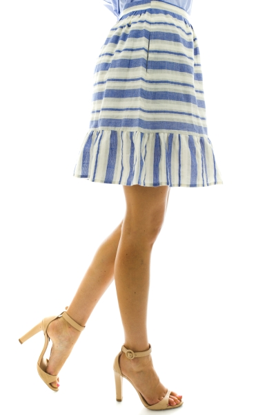 Drop and Ruffle Skirt, Blue