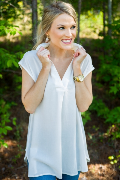 Simple Collared Top, Ivory