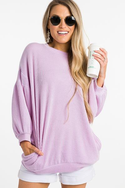 Raised Lines Bubble Top, Purple
