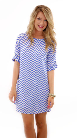 Laser Zag Dress, Blue