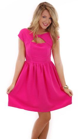 Bow Neck Dress, Pink