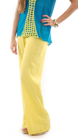Roll Over Linen Pant, Yellow