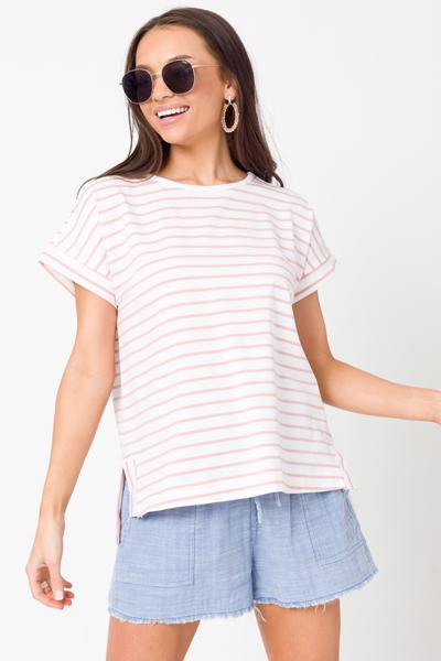 Benny Stripe Top, White/Pink