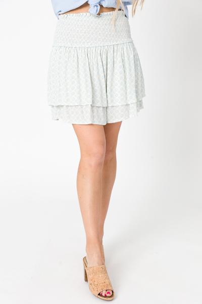Blue Medallion Smock Skirt