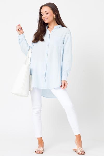 Longer Gauze Button Up, Light Blue