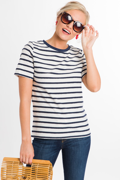 Stripe Scalloped Tee