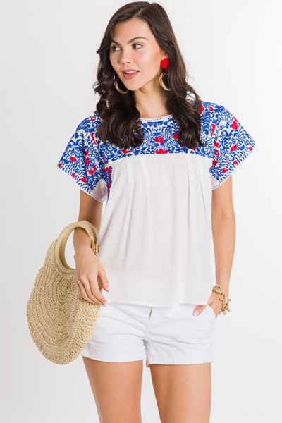 Red Pop Embroidered Top