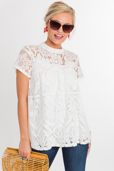 Floral Lace Top, White
