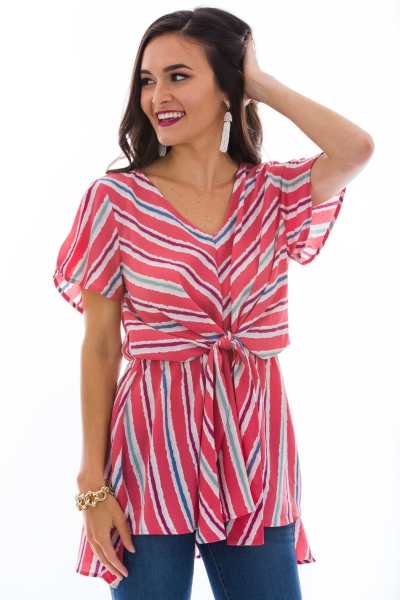 Tie Up Tunic, Coral
