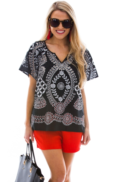 Black Boho Embroidery Top